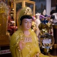 Tượng Quan Âm Bồ Tát Đá Thạch Anh Vàng 40cm shop tĩnh tâm quán 2