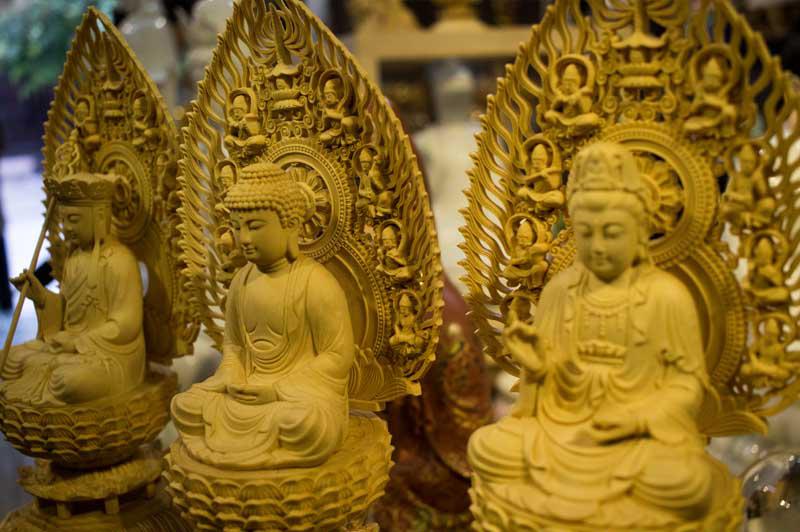 Shop Tĩnh Tâm Quán: Tượng Ta Ba Tam Thánh Gỗ Bách Hương 28cm - Call: 0932.808.715 – zalo