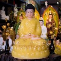 Tượng Phật Bổn Sư Thích Ca Tĩnh Tâm Đá Thạch Anh Vàng 42cm