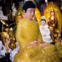 Tượng Phật Bổn Sư Thích Ca Tĩnh Tâm Đá Thạch Anh Vàng 42cm1