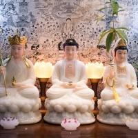 Đèn Hoa Sen Nhựa Giả Đá Lưu Ly Chân Hợp Kim - 30cm 4