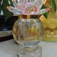 Đèn Dầu Lưu Ly Hoa Sen Hồng Dát Cạnh Pha Lê - 20cm