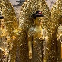 Tượng Tam Thánh Composite 82cm mạ cát vàng -3