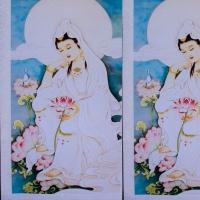 Tranh in lụa Quan âm Tự tại 55150cm3
