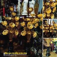 Bình hoa sen đồng xi mạ vàng 40cm2