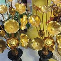 Bình hoa sen đồng xi mạ vàng Size 40cm 2