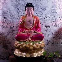 Tượng Phật A Di Đà Composite Áo Đỏ Ngồi Đài Sen( Size 50cm)1