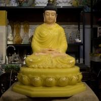 Tượng Phật Bổn Sư Thích Ca Đẹp Đá Thạch Anh Vàng 90cm 1