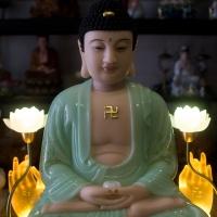 Tượng Phật Bổn Sư Thích Ca Y Áo Xanh họa tiết 3D Ngồi Đài Sen – 50cm