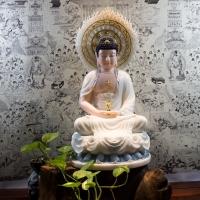 Tượng Phật Dược Sư Lưu Ly Bột Đá ( Áo rũ cao 53cm)1