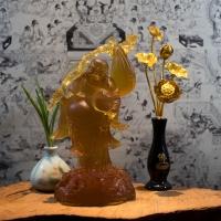 Tượng Phật Di Lặc Đá Lưu Ly Màu Hổ Phách (Cao 24cm)1