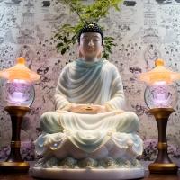 Tượng Phật Thích Ca Đá Thạch Ngọc Viền Vàng 50Cm5
