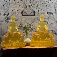 Tượng Văn Thù Phổ Hiền Đá Lưu Ly Vàng Cao 23cm8