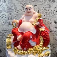 Tượng Phật Di Lặc Y Áo Đỏ Tay Cầm Gậy Như Ý Cao 40cm3