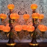 Cặp Đèn Thờ Bằng Điện 9 Hoa Sen Thủy Lưu Ly 2