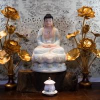 Tượng Phật A Di Đà Bột Đá Xanh Ngọc Viền Vàng Áo Rũ 42cm tĩnh tâm quán 1