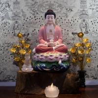 Tượng Phật A Di Đà Men Sứ Vẽ Màu - Áo Hồng ( Size 42cm)1
