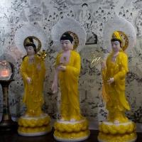 Tượng Tây Phương Tam Thánh Y Áo Vàng Lá Đề Nhỏ (48cm)5
