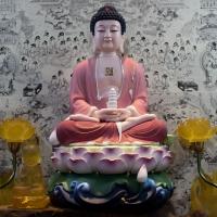 Tượng Phật Dược Sư Men Sứ Nhám Vẽ Màu - Áo Hồng ( Size 40cm)2