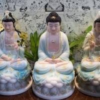 Tượng Phật Tây Phương Tam Thánh Ngồi Màu Xanh Thiên Thanh Viền Vàng (40cm)2