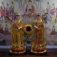 Tượng Nhật Quang Nguyệt Quang Bồ Tát Composite Vẽ Màu 50cm1