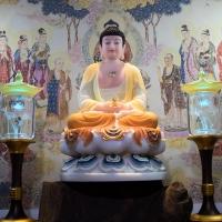 Tượng Phật A Di Đà Bột Đá Cao Cấp Vẽ Màu Viền Gấm 50cm6