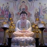 Tượng Phật A Di Đà Bột Đá Vẽ Màu Gấm Họa Tiết Vàng Cao Cấp 48cm8