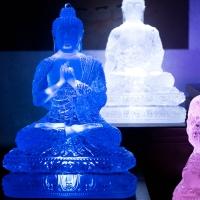 Tượng Phật Dược Sư Đá Lưu Ly – Y Áo Hoa 7 Thế Tay 25cm3