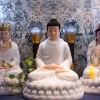 Tôn Tượng Ta Bà Tam Thánh Tĩnh Tâm Bột Đá Đài Loan Cao Cấp 50cm1
