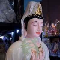 Tượng Mẹ Quan Âm Đá Ngọc Thiên Thanh Ngồi Tự Tại Cao 130cm5