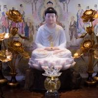 Tôn Tượng Phật Dược Sư Bột Đá Khoáng Cao Cấp Viền Vàng 48cm1