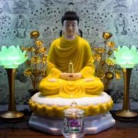 Tượng Phật Dược Sư Bột Đá Áo Vàng 50cm1