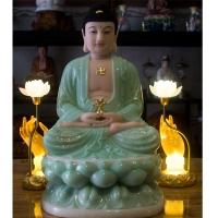 tượng phật dược sư dá xanh ngọc 3d 50cm2