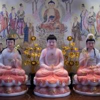 tượng tây phương tam thánh ngồi áo hồng viền vàng 42cm 10