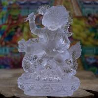 Tượng Hoàng Thần Tài Đá Lưu Ly Màu Trắng (16cm)1
