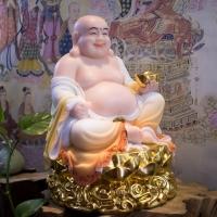 Tượng Phật Di Lặc Bột Đá Khoáng Đài Sen Vàng - 32cm9
