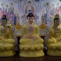 Tượng Phật Tam Thánh Bột Đá Thạch Anh 50cm1