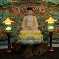 Tượng Phật A Di Đà Ngồi Bột Đá Thạch Ngọc Màu Khoáng 50cm1