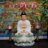 Tượng Phật Di Đà Ngồi Bột Đá Ngọc Vẽ Gấm 50cm1