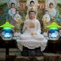 Tượng Phật Quan Âm Ngồi Tự Tại Bột Đá Ngọc (50cm-AT)1