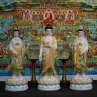 Tượng Phật Tam Thánh Đứng Đá Đài Loan CC 50cm1