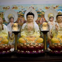 Bộ Tượng Ta Bà Tam Tôn composite sơn màu 40cm7