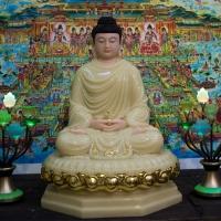 Tượng Phật Dược Sư Đá Thạch Anh Viền Vàng Cao 68cm1