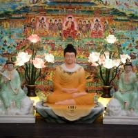 Tượng Hoa Nghiêm Tam Thánh Phật xanh ngọc 1
