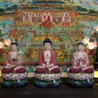 Tượng Phật Tam Thánh Men Sứ Mờ Ngồi Đài Sen Sóng Nước 40cm1
