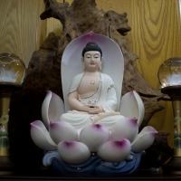 Tượng Phật A Di Đà Men Sứ Màu Ngồi Trong Hoa Sen 42cm6