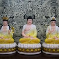 Tượng Tây Phương Tam Thánh ngồi đà sen hoa văn điểm vàng 40cmtq1