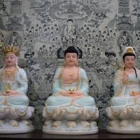 tượng Ta Bà Tam Thánh Ngồi Màu Xanh 8