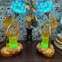 Đèn Tay Phật Hoa Sen Bằng Thủy Tinh Dát Cạnh