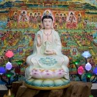 Tượng Phật Mẹ Quan Âm Men Sứ Màu Cao Cấp 50cm1